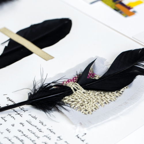 Sketchbook with black feathers.