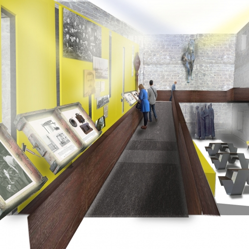 Mock up of museum space, yellow walls and wooden walkway to view displays from.