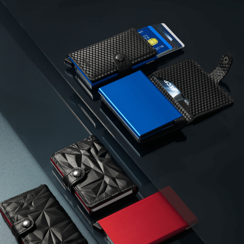 Leather wallets with blue and red cards