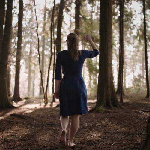 woman in a blue dress walking in the woods