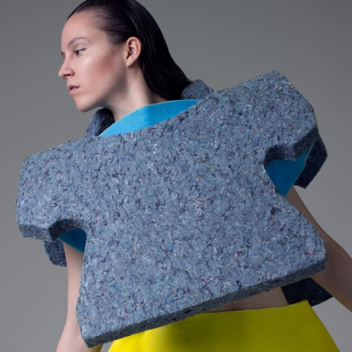 Model wearing foam structured top.