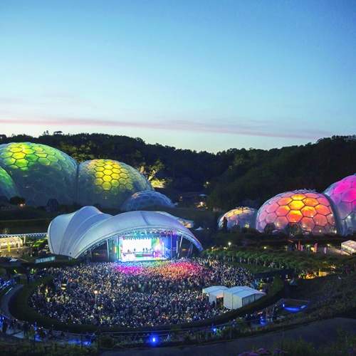 Aerial view of Eden's domes lit up during an Eden Session's event.