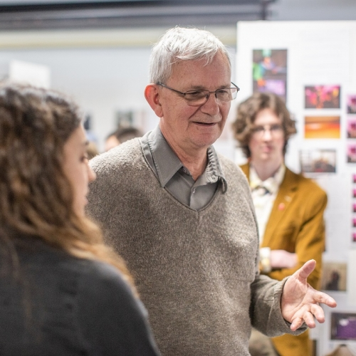 Photographer Martin Parr with students