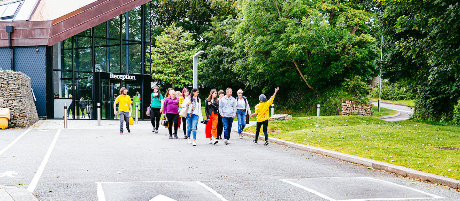 Group of people on Falmouth University Campus